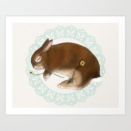 Sleeping Bunny in Baby Blue Lace Wreath Art Print