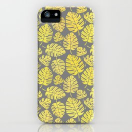 Leaves in Yellow and Grey Pattern iPhone Case