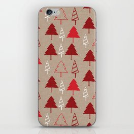 Christmas Tree Red and Brown iPhone Skin
