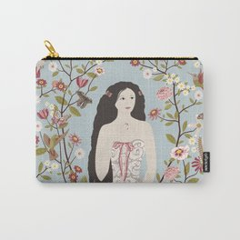 Lady, Flowers, Hummingbirds and Butterflies Carry-All Pouch