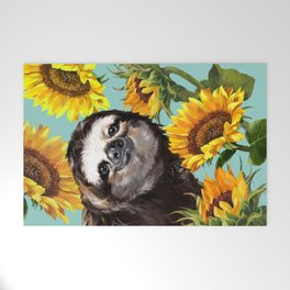 Sloth with Sunflowers Welcome Mat