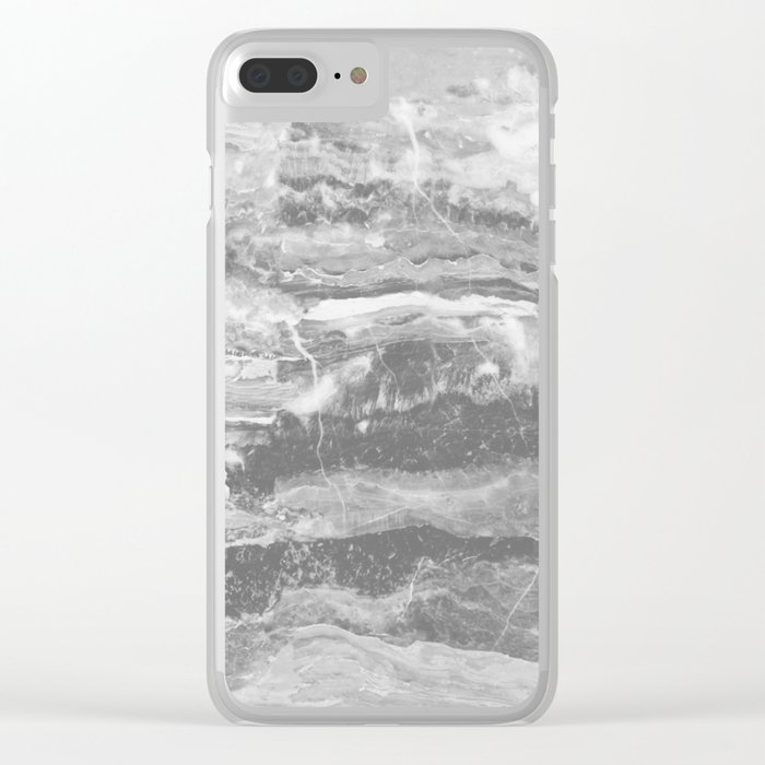 Real Gray Marble Clear iPhone Case