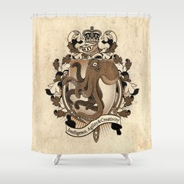 Octopus Coat Of Arms Heraldry Shower Curtain