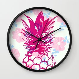 Beautiful Pineapple Flowers Pattern Wall Clock