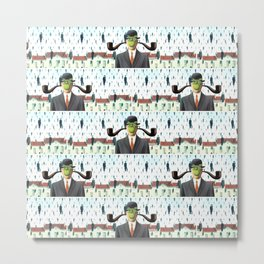 Ear Smoking Apple Guy Standing in the Man Rain Metal Print