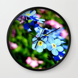 Pink And Blue Forget Me Nots Wall Clock