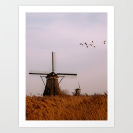 Dutch Windmill With Birds | Sunset at Kinderdijk, Netherlands Art Print