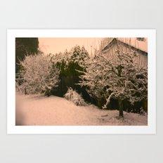 blurred winter nights. Art Print
