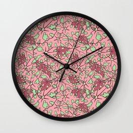 Begonia Leaves Illustrated Print Wall Clock