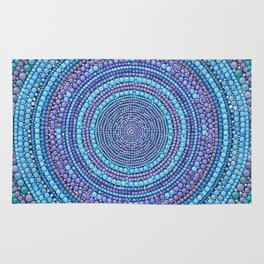 Dot Art Pastel blue and purple Mandala Rug