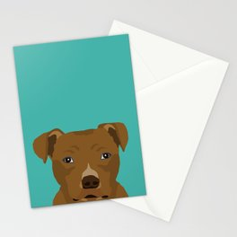 Pitbull dog head cute gifts for rescue pibbles dog breed art Stationery Cards