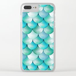 mermaid scales, turquoise shimmer Clear iPhone Case