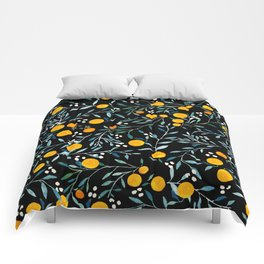 Oranges Black Comforters