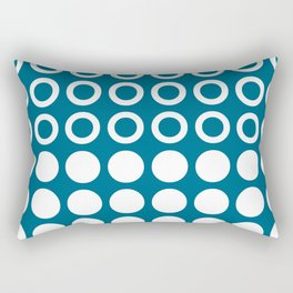 Mid Century Modern Circles And Dots Peacock Blue Rectangular Pillow