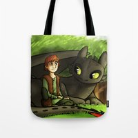 hiccup Tote Bags featuring hiccup n' toothless by Marie Mikolay