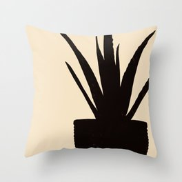Spider Plant Silhouette Throw Pillow
