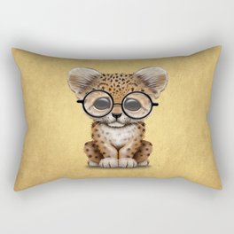 Cute Baby Leopard Cub Wearing Glasses on Yellow Rectangular Pillow