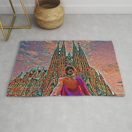 Spain Sagrada Familia Artistic Illustration Corrosive Style Rug