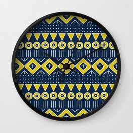 Mudcloth Style 2 in Navy Blue and Yellow Wall Clock