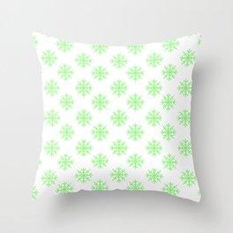Snowflakes (Light Green & White Pattern) Throw Pillow