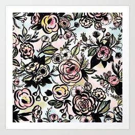 Watercolored Brush Floral Pattern Art Print