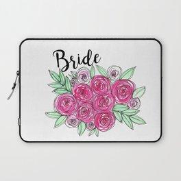 Bride Wedding Pink Roses Watercolor Laptop Sleeve