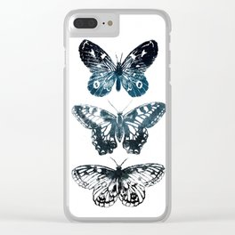 Butterfly Tattoo in Black and Blue Clear iPhone Case
