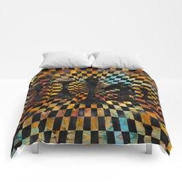 Chessboard Collage - Black figures Comforters