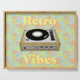 Retro Vibes Record Player Design in Yellow Serving Tray