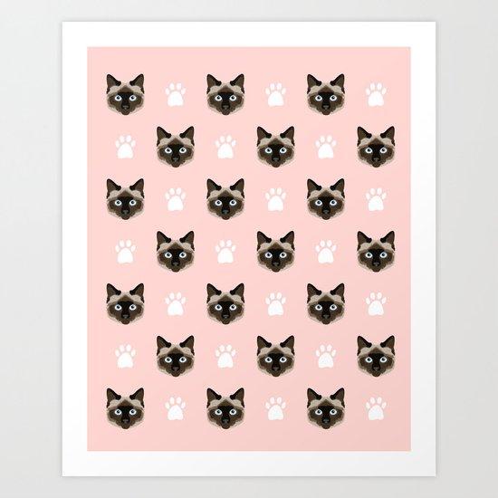 Siamese Cat cute cat paw print pink pastel kids fur baby pet portrait siamese cat owner must have  Art Print