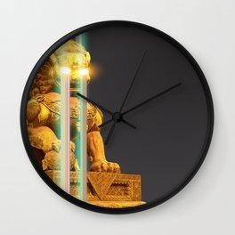 Asian lion neon light print Wall Clock