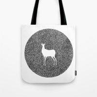 alisa burke Tote Bags featuring Deer Mandala 2 black-white by Anna Grunduls