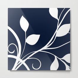 Floral Elegance Navy White Metal Print