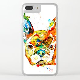 Colorful french bulldog Clear iPhone Case