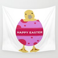 easter Wall Tapestries featuring Happy Easter  by Sammycrafts