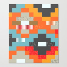 Colorful rectangles with dots Canvas Print