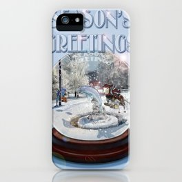 Blue Christmas Greeting Card iPhone Case