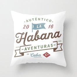 Vintage Havana Cuba Logo Throw Pillow