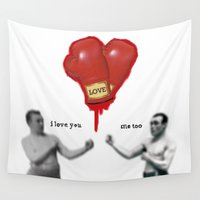 boxing Wall Tapestries featuring BOXING LOVE by LOOKING FOR MY MONOCLE
