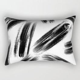Brush Stroke - Black Rectangular Pillow