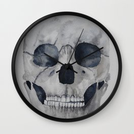 Human skull watercolour Wall Clock