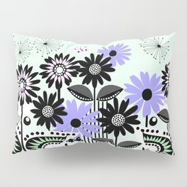 Trendy flowers & butterflies in purple, pink, green and B&W Pillow Sham
