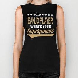Banjo Player Superpower Saying Gift Biker Tank