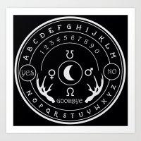 ouija Art Prints featuring Ouija by ANOMIC DESIGNS