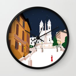 Spanish Steps in Snowy Rome Wall Clock