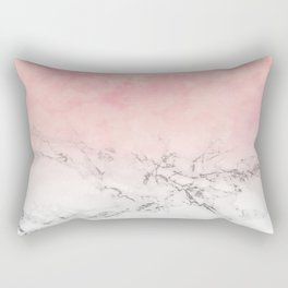 Modern blush pink watercolor ombre white marble Rectangular Pillow