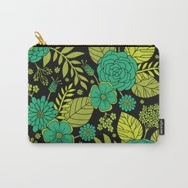 Lime, Jade, Emerald, And Forest Green Floral Pattern Carry-All Pouch