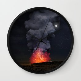 Moon Over Kilauea Volcano at Kalapana Wall Clock