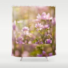 Wild pink Clover or Trifolium flowers Shower Curtain