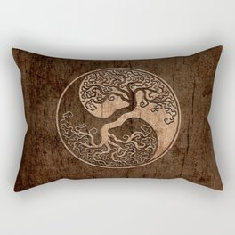 Rough Wood Grain Effect Tree of Life Yin Yang Rectangular Pillow